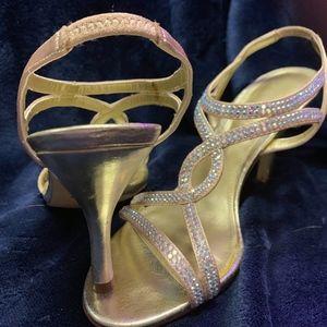 Nine West Gold Rhinestone Heels